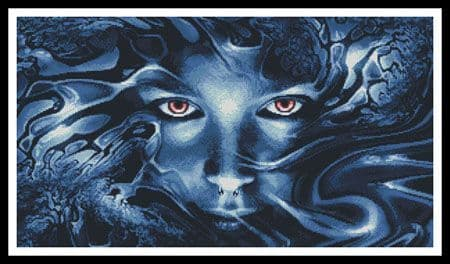 Abstract Face Blue by Artecy printed cross stitch chart
